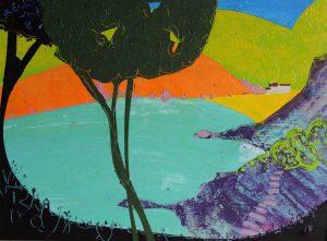 Agua Blava 29cm x 39cm Acryic on paper 2017 Sold Matthew Rees Artist