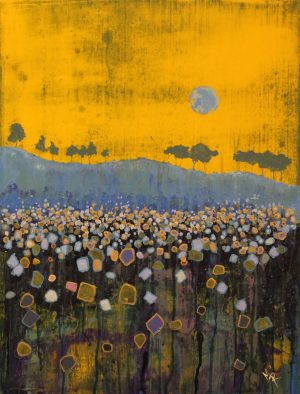 Blue Moon II 54cm x73cm Acrylic on canvas 2018 Available £1500 framed Matthew Rees Artist