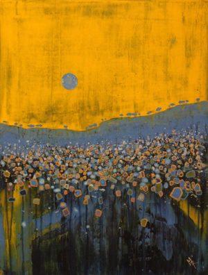 Blue Moon III 54cm x73cm Acrylic on canvas 2018 Available £1500 framed Matthew Rees Artist