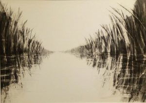 Canal Drawing II 52cm x 70cm Charcoal on paper Available £350 Matthew Rees Artist