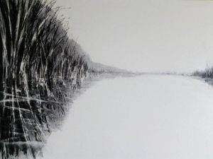 Canal drawing IV 52cm x 70cm charcoal on paper 2018 £350 Matthew Rees Artist