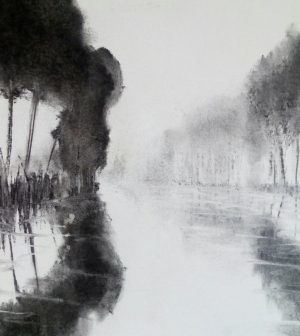 Canal drawing V 29cm x39cm charcoal on paper £160 Matthew Rees Artist