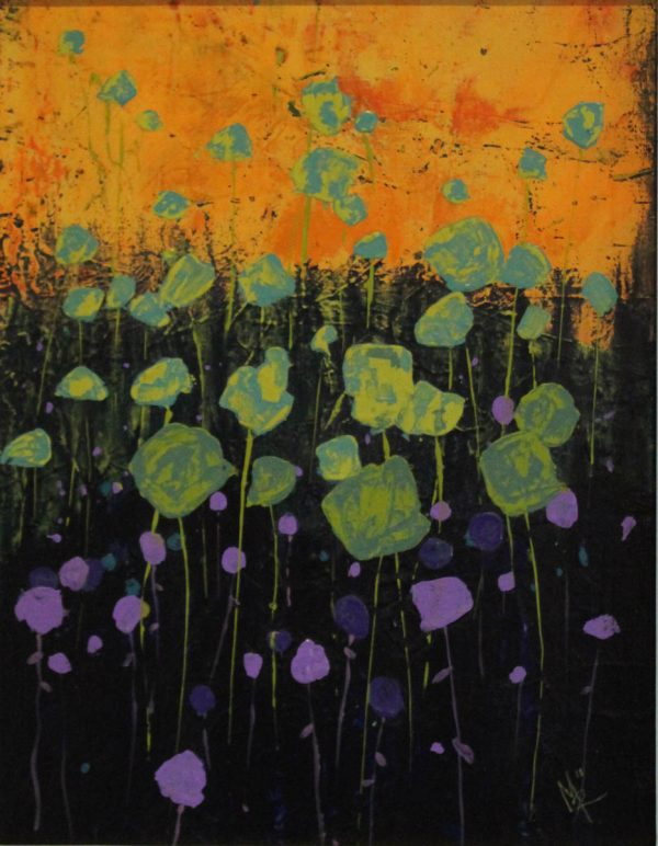 Dusk Flowers 29cm x 39cm Acrylic on canvas 2018 Sold Matthew Rees Artist