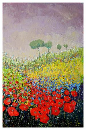 Late Spring Wild Field 52cm x 70cm Acrylic on canvas 2017 Available £1500 framed (Prints Available)