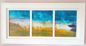 Leucate Lagoon 90cm x 40cm Triptych Acrylic on canvas 2017 £1350 framed Matthew Rees Artist