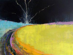 Lightning Coast 73cm x 91cm Acrylic on canvas 2018 £2000 Matthew Rees Artist