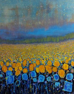 Milky Way Sunflowers 101cm x 127cm Acrylc on Canvas SOLD Prints Available
