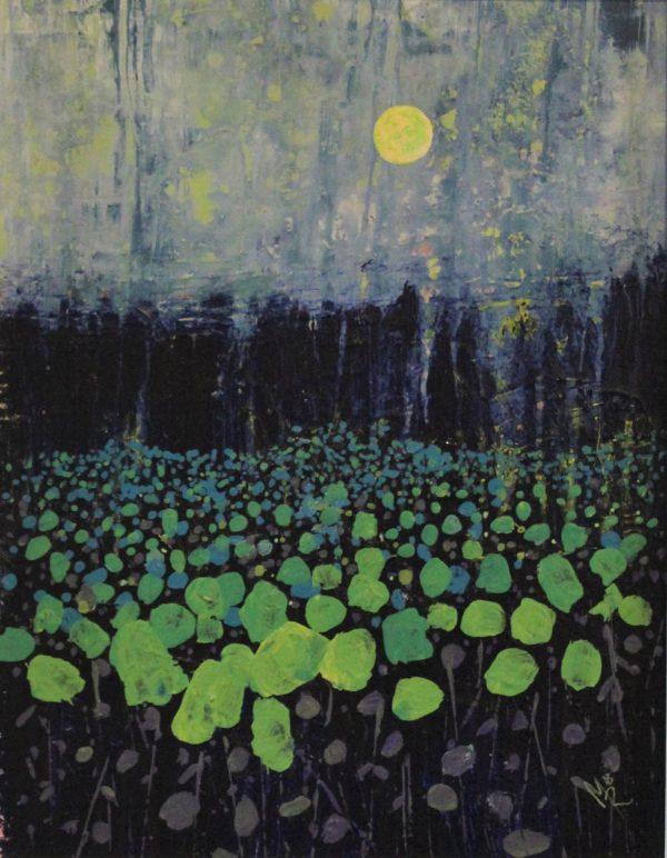 Moon Field 29cm x 39cm Acrylic on canvas 2018 £675 framed Matthew Rees Artist