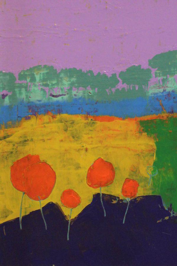 Orange Trees 29cm x 39cm Acrylic on canvas 2018 £675 framed Matthew Rees Artist