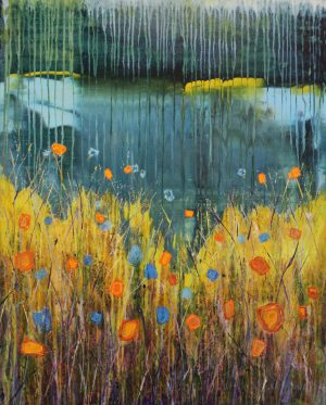Rain Flowers 81cm x 100cm Acrylic on canvas 2018 Available £2300 framed Matthew Rees Artist