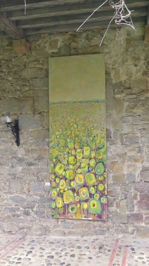 Sunflower field III 100cm x 285cm Acrylic on canvas 2016 kept by artist Matthew Rees
