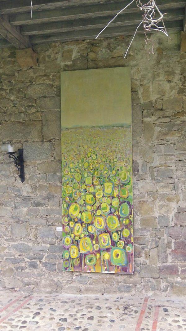 Sunflower field III 100cm x 285cm Acrylic on canvas 2016 kept by artist Matthew Rees