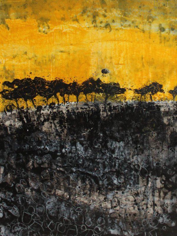 Treeline I 29cm x 39cm Arylic on paper 2017 £500 framed Matthew Rees Artist