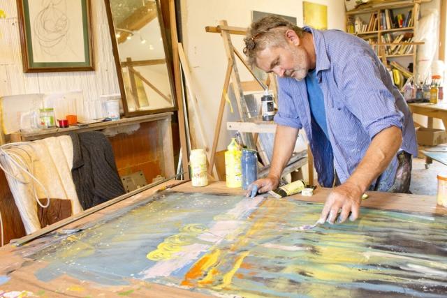 Matthew Rees Artist Working Studio